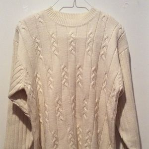 Sweater Cable Knit Crew Neck Padded Shoulders